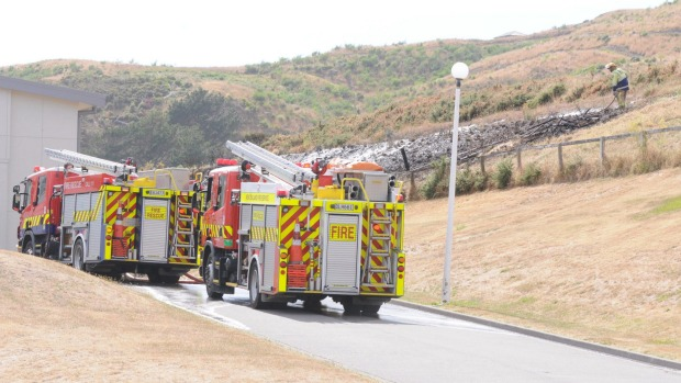 DANIEL WHITFIELD Firefighters were called to a fire that broke out on a section of land behind Aotea College on Wednesday morning.