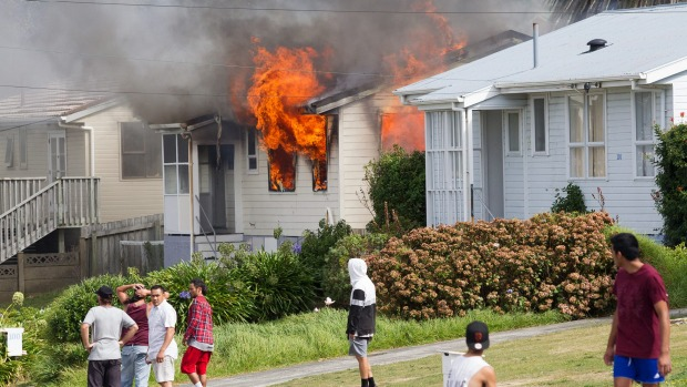 A fire spokesperson said one person was being treated for burns following the blaze. - MATT DUNCAN/FAIRFAX NZ